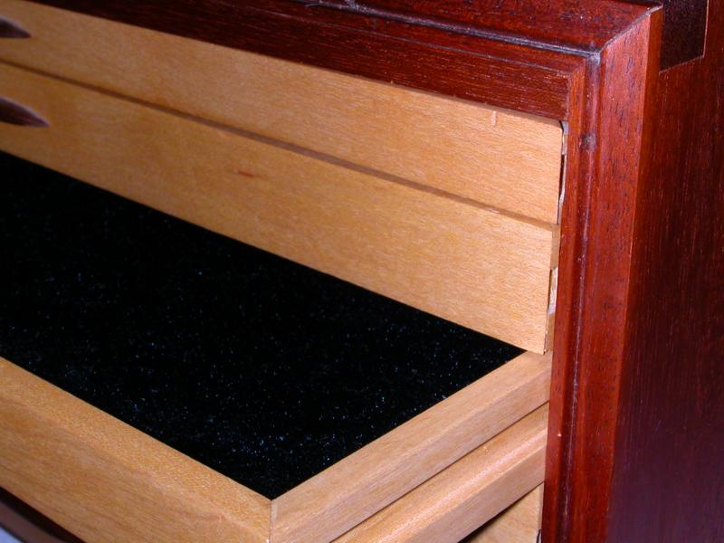 Detail of jewelry box drawer